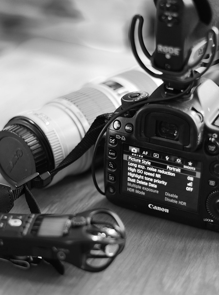 Kit photo. Camera lens and microphone in black and white